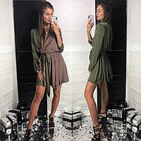 Платье красивое нарядное на запах шелк Армани разные цвета Smld2827, фото 1
