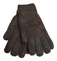 Женские перчатки Корона ангора двойные, коричневые