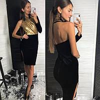 Платье стильное вечернее бархат и пайетки с одним рукавом и глубоким  разрезом Smld2828 66652c49b68