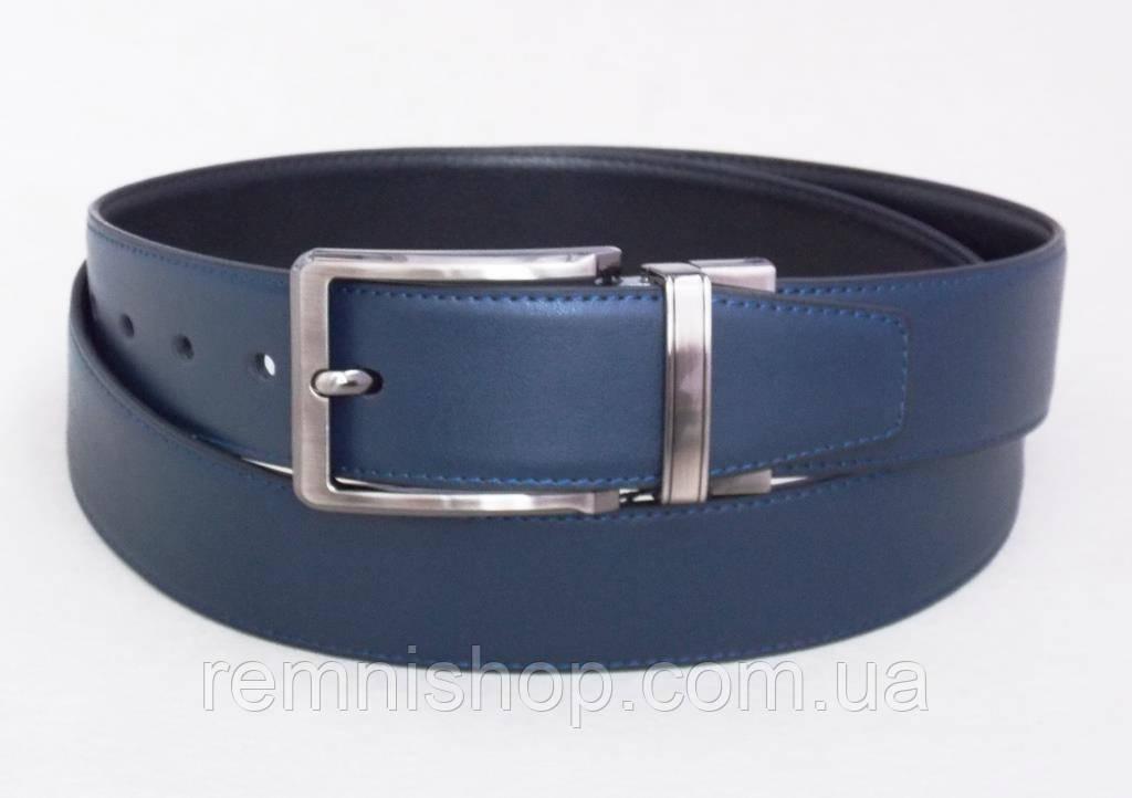 Двухсторонний кожаный универсальный ремень Alon черный / синий