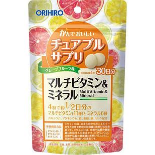 ORIHIRO Японские жевательные мультивитамины и минералы со вкусом грейпфрута, 120 таблеток
