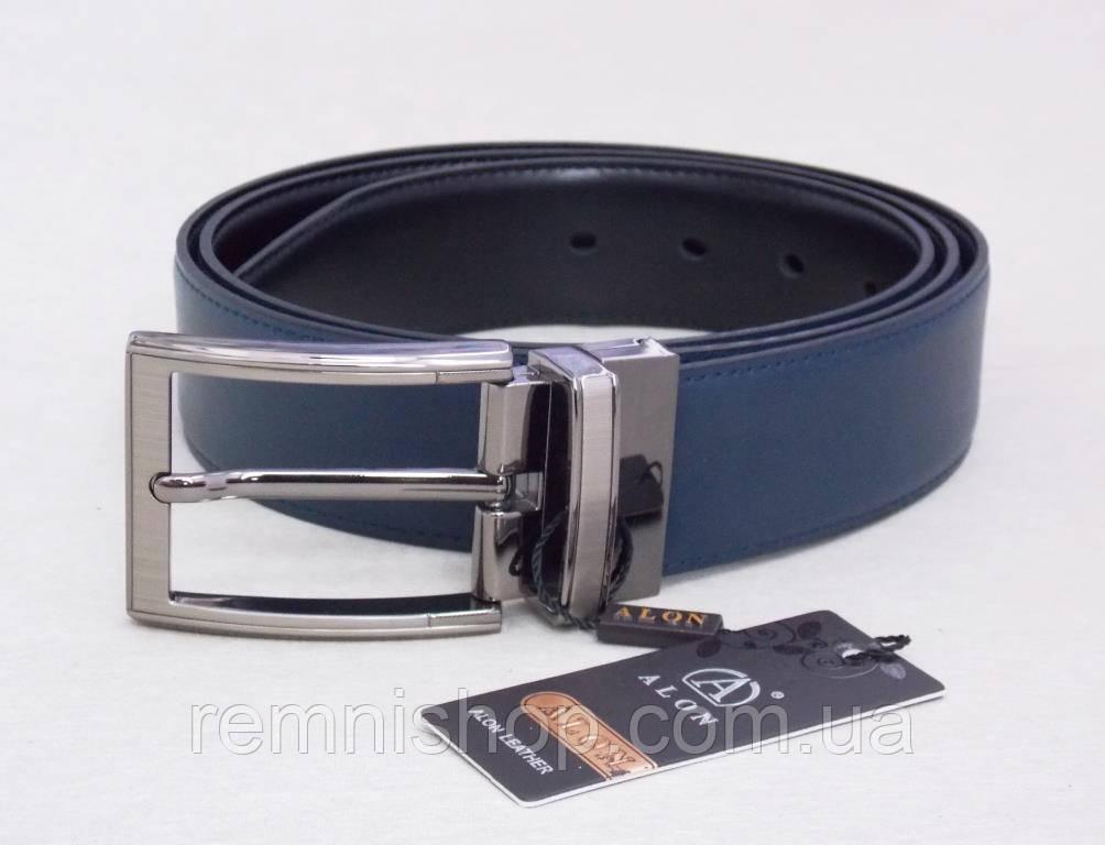 Мужской двухсторонний кожаный ремень Alon (черный, синий)