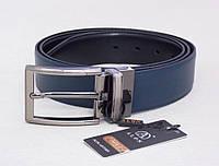 Мужской двухсторонний кожаный ремень Alon (черный, синий), фото 1