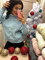 Нежно-голубой свитер красивой вязки, фото 1