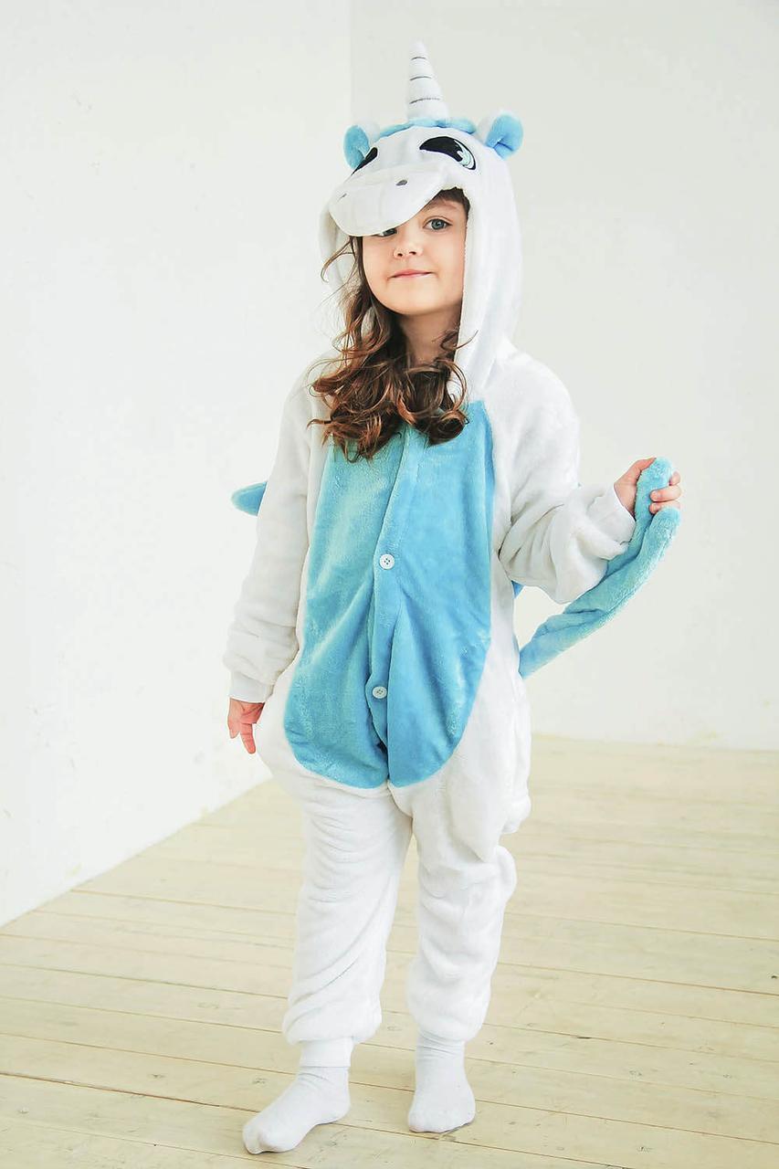 Детская пижама-костюм Кигуруми единорог бело-голубой tez0043 - «Anna Tézor»  - fc9502e8a8fe6