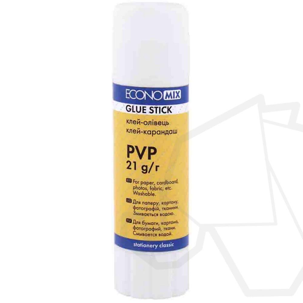 Клей-карандаш Economix, основа PVP, 21г