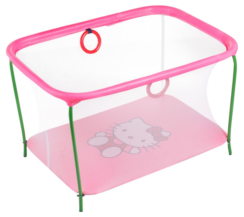 Манеж Qvatro LUX-02 мелкая сетка  розовый (hello kitty)