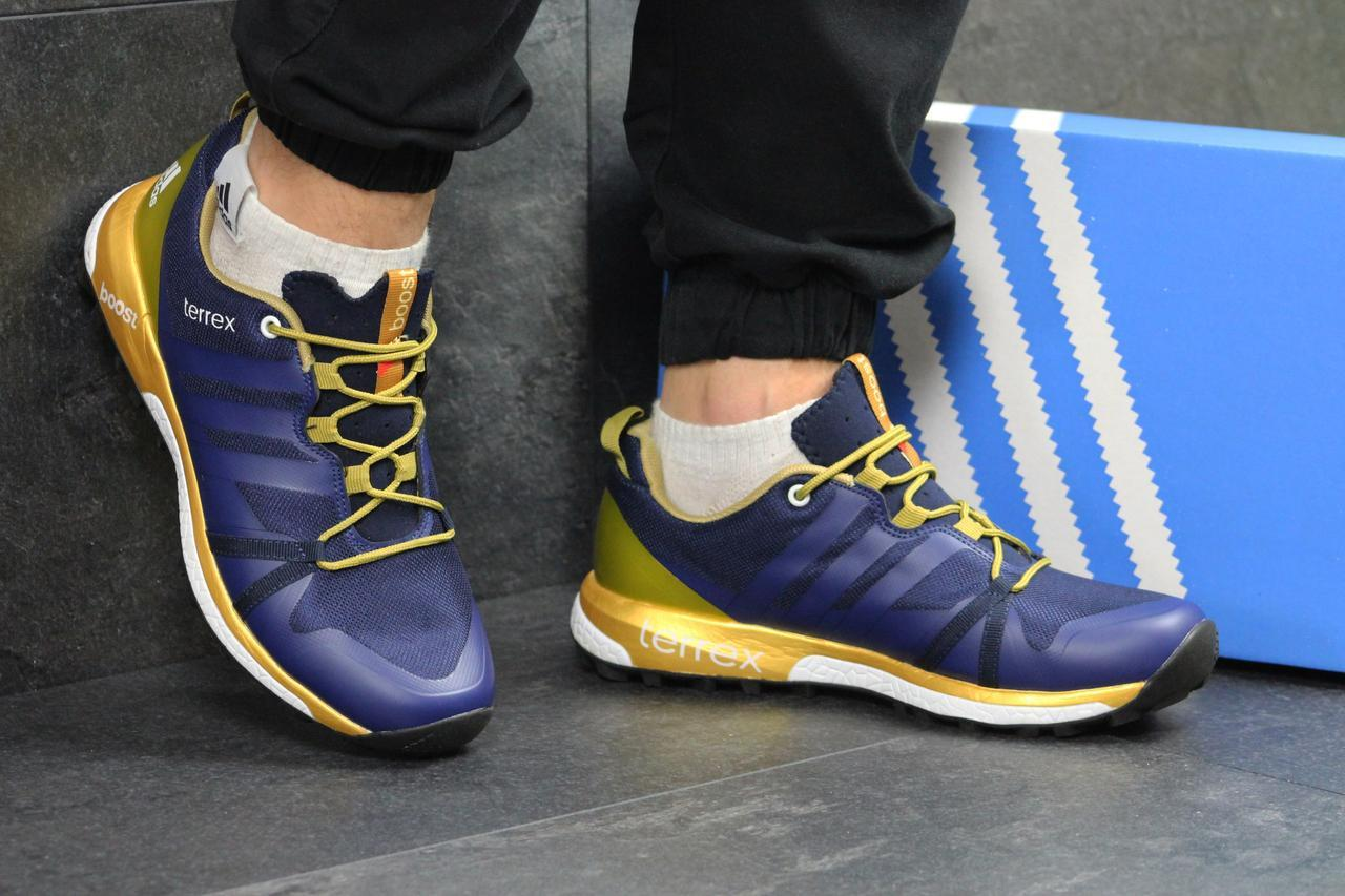 Мужские кроссовки в стиле Adidas Terrex Boost. Синие с золотом. Код товара   Д 79fecc10a4f