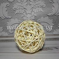 Шар из ротанга, 10 см, цвет белый, 1 шт.