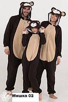Кигуруми взрослая медведь от 50 до 56 размера Код мишка коричн с беж живот