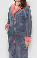 Халат махровый женский серый с вставками длинный