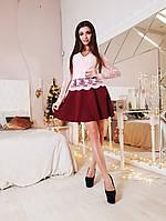 Женское красивое комбинированное платье (2 цвета), фото 1