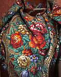 Русские сезоны 948-17, павлопосадская шаль из уплотненной шерсти с шелковой вязаной бахромой  Стандартный сорт, фото 10