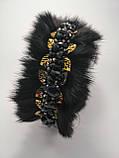 Хутряні навушники з кришталевими намистинами Корона стиль Дольче Габбана Чорні з Золотом Хутровий обідок, фото 6