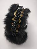 Хутряні навушники з кришталевими намистинами Корона стиль Дольче Габбана Чорні з Золотом Хутровий обідок, фото 10