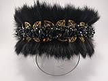 Хутряні навушники з кришталевими намистинами Корона стиль Дольче Габбана Чорні з Золотом Хутровий обідок, фото 5