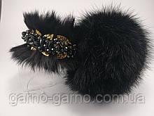 Меховые наушники с хрустальными бусинами Корона стиль Дольче  Габбана Черные с Золотом Меховый ободок