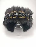 Хутряні навушники з кришталевими намистинами Корона стиль Дольче Габбана Чорні з Золотом Хутровий обідок, фото 9