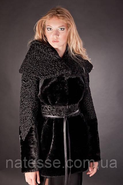 Шуба з мутону і каракулю з капюшоном Afghan karakul curly lamb and mouton fur coat with a hood