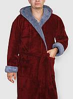 Халат махровый мужской длинный  цвета марсала с капюшоном и карманами, домашний мужской халат