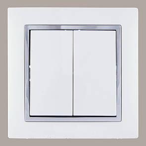 Выключатель двойной (с рамкой) LXL Tesla белый/хром