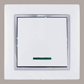Выключатель с подсветкой (с рамкой) LXL Tesla белый/хром