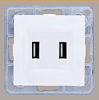 Розетка USB двойная 2*1A, 5V, DC LXL Tesla белый