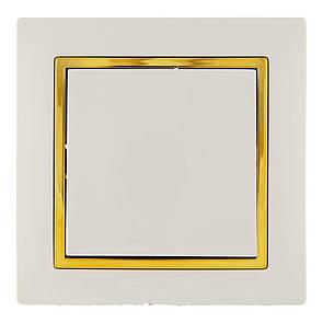 Выключатель (с рамкой) LXL Tesla крем/золотой