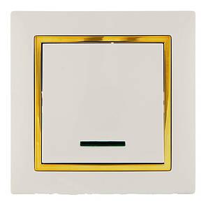 Выключатель с подсветкой (с рамкой) LXL Tesla крем/золотой