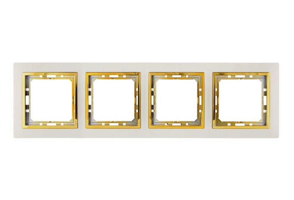 Рамка 4 місця LXL Tesla кремова/золота