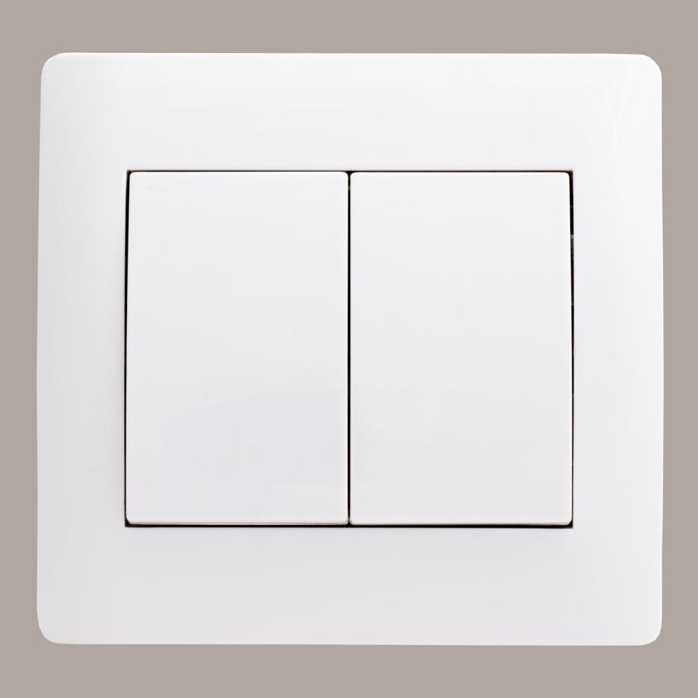 Выключатель двойной (с рамкой) LXL Oscar белый