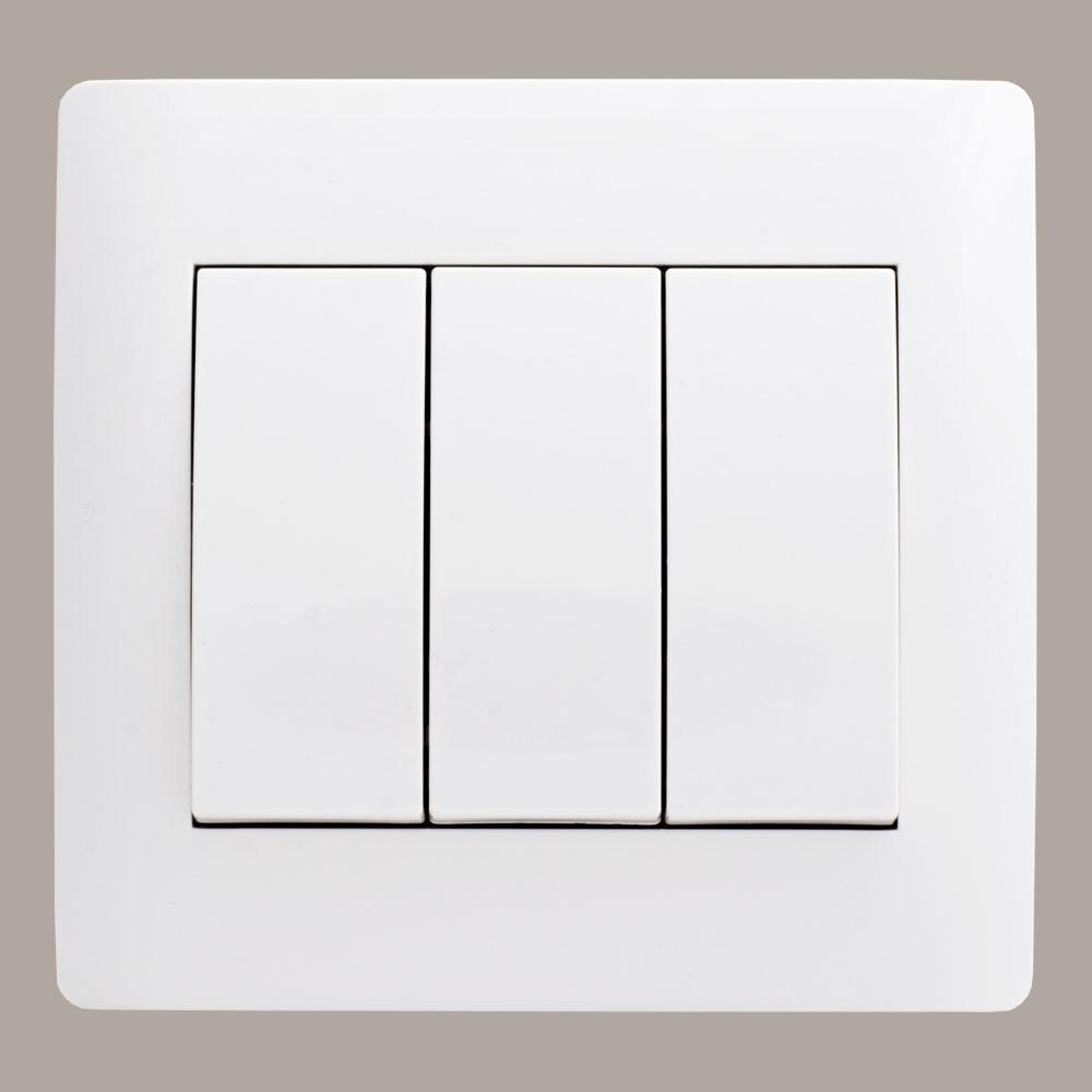 Выключатель тройной (с рамкой) LXL Oscar белый