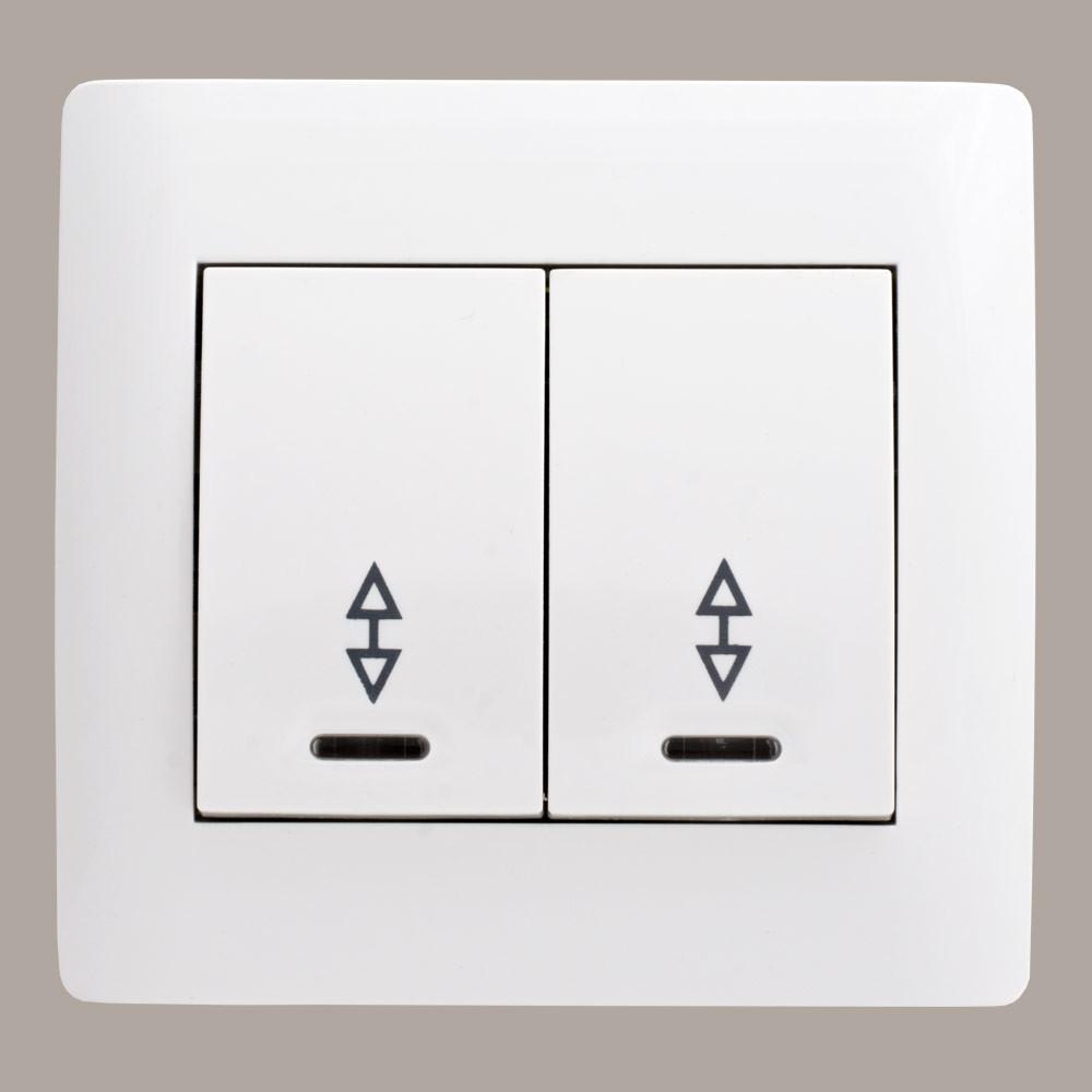 Выключатель проходной двойной с подсветкой (с рамкой) LXL Oscar белый