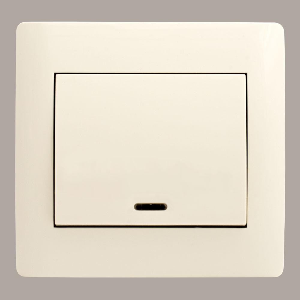 Выключатель с подсветкой (с рамкой) LXL Oscar кремовый