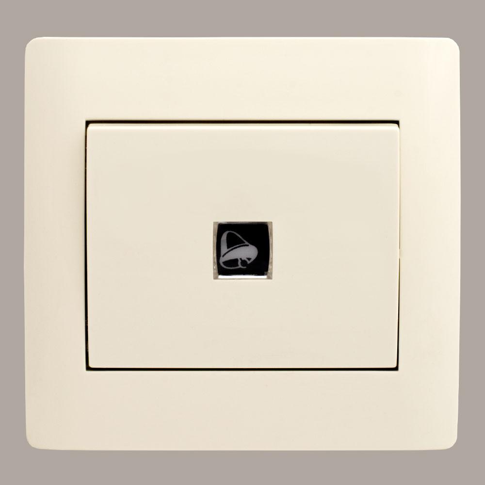 Кнопка звонка с подсветкой (с рамкой) LXL Oscar кремовая