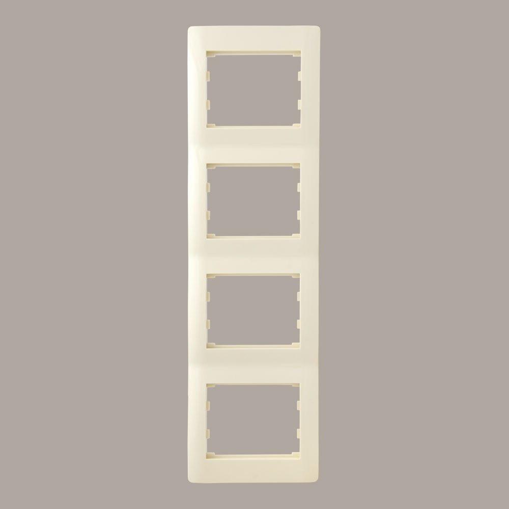 Рамка 4 места вертикальная LXL Oscar кремовая