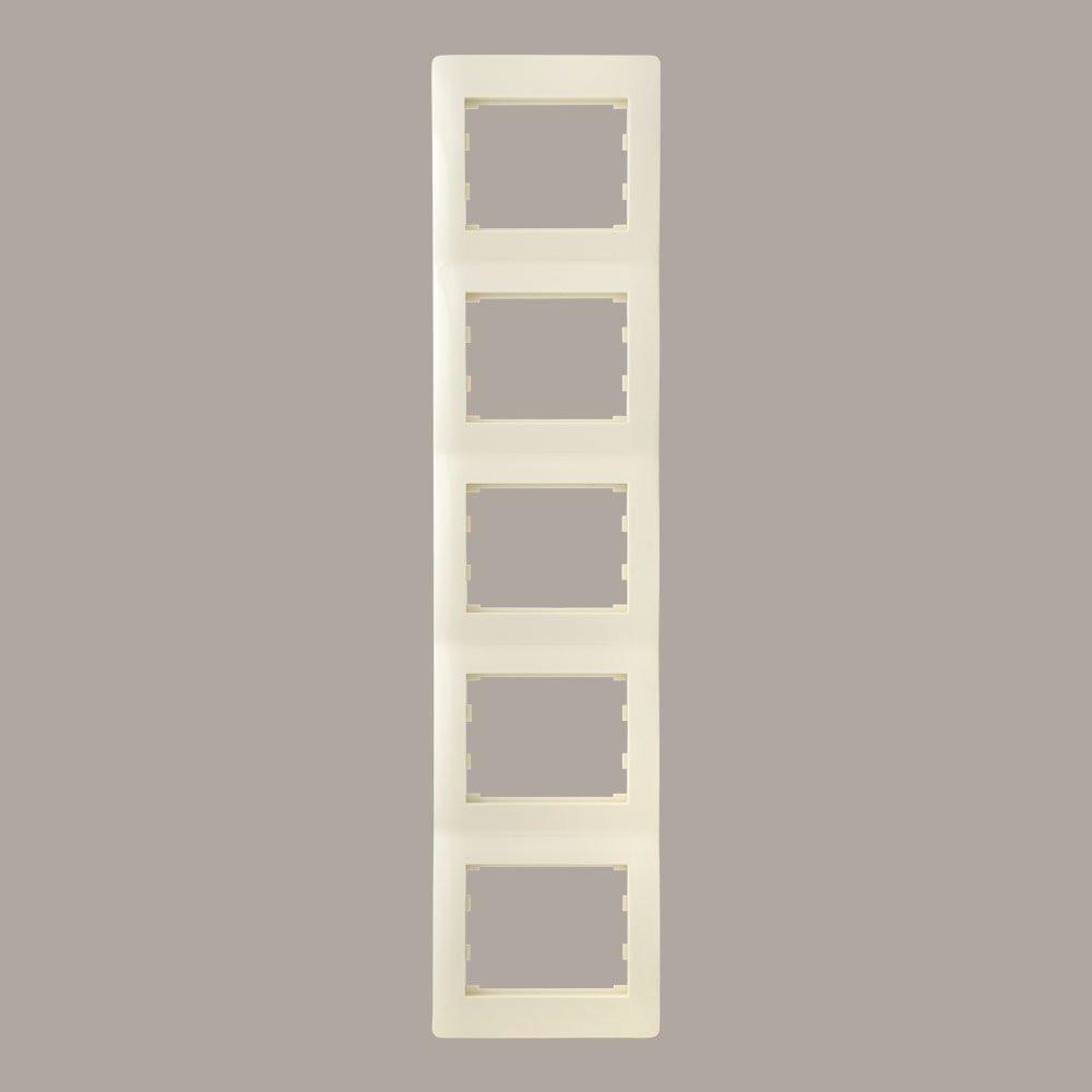 Рамка 5 мест вертикальная LXL Oscar кремовая