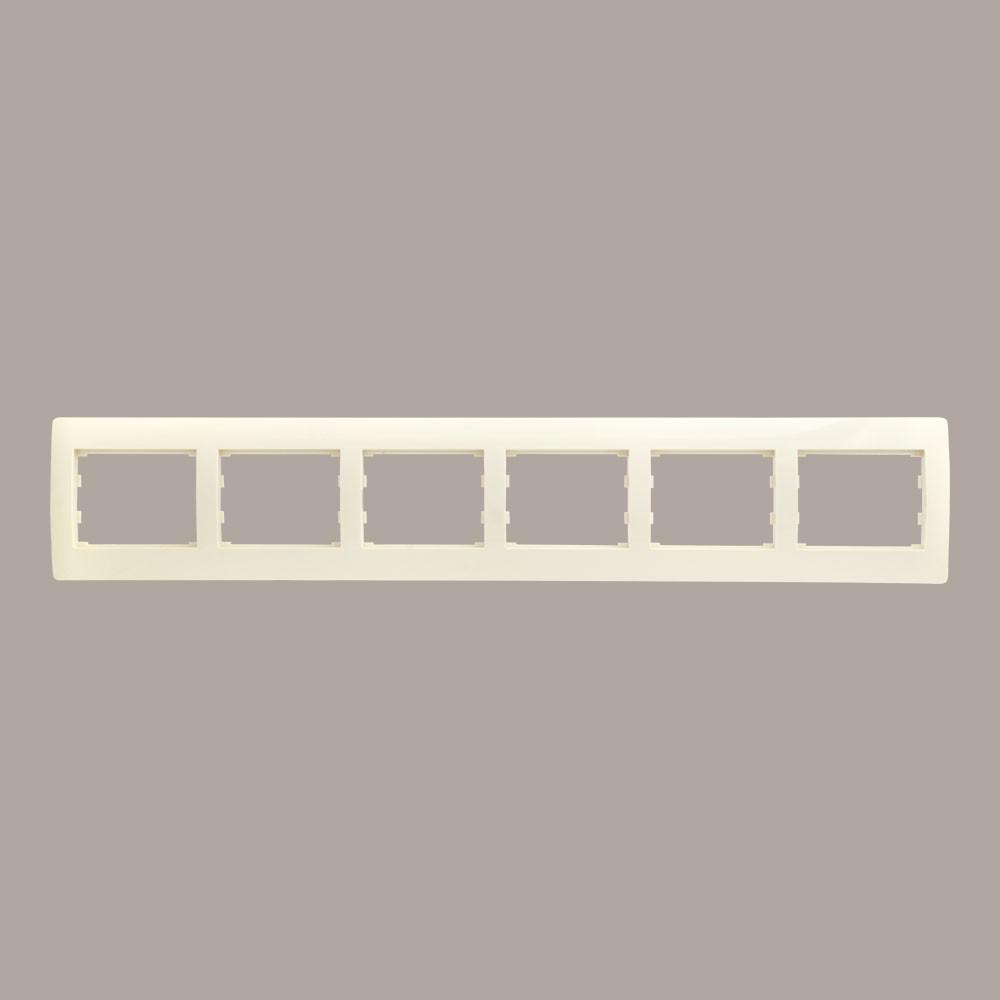 Рамка 6 мест горизонтальная LXL Oscar кремовая
