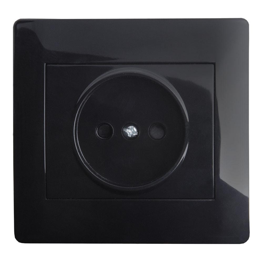 Розетка (с рамкой) LXL Oscar черный глянец