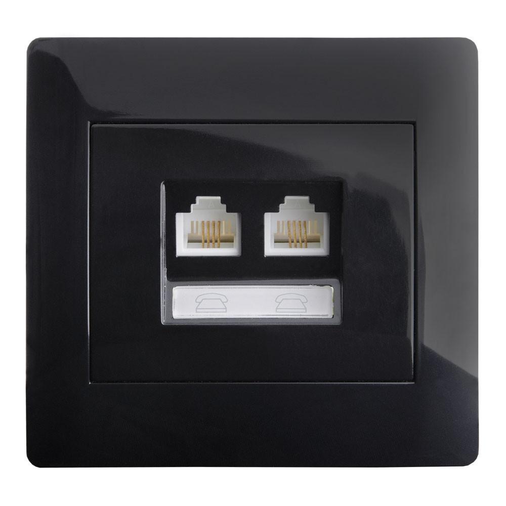 Розетка телефонная RJ11 двойная (с рамкой) LXL Oscar черный глянец