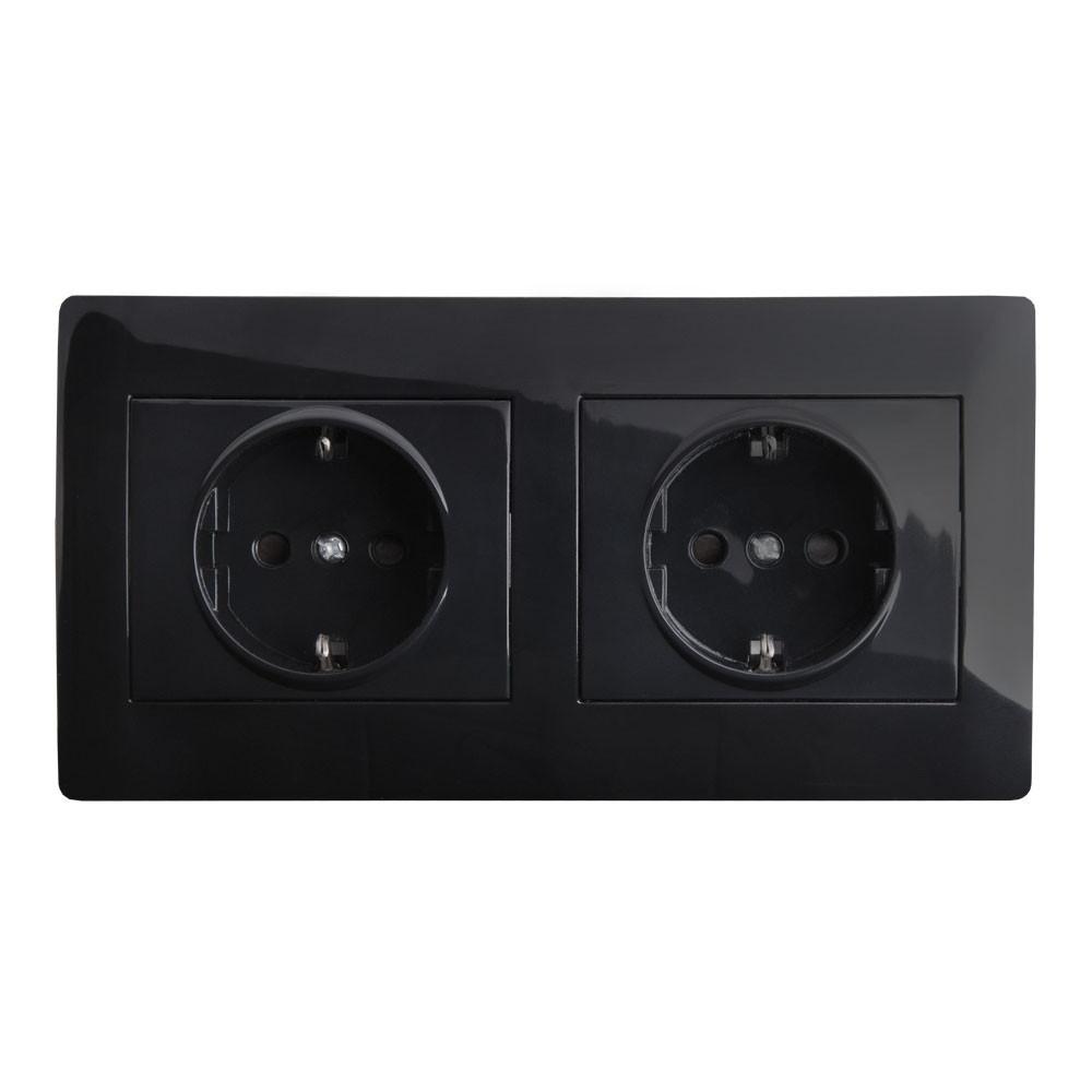 Розетка подвійна з заземленням в рамці LXL Oscar чорний глянець