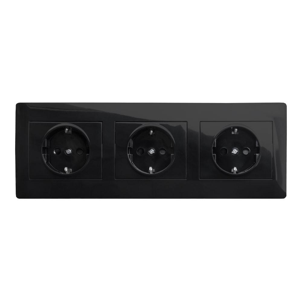 Розетка тройная с заземлением в рамке LXL Oscar черный глянец