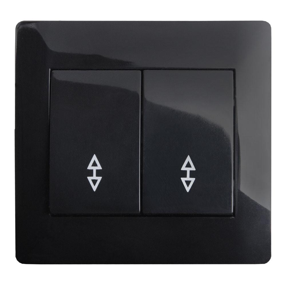 Выключатель проходной двойной (с рамкой) LXL Oscar черный глянец