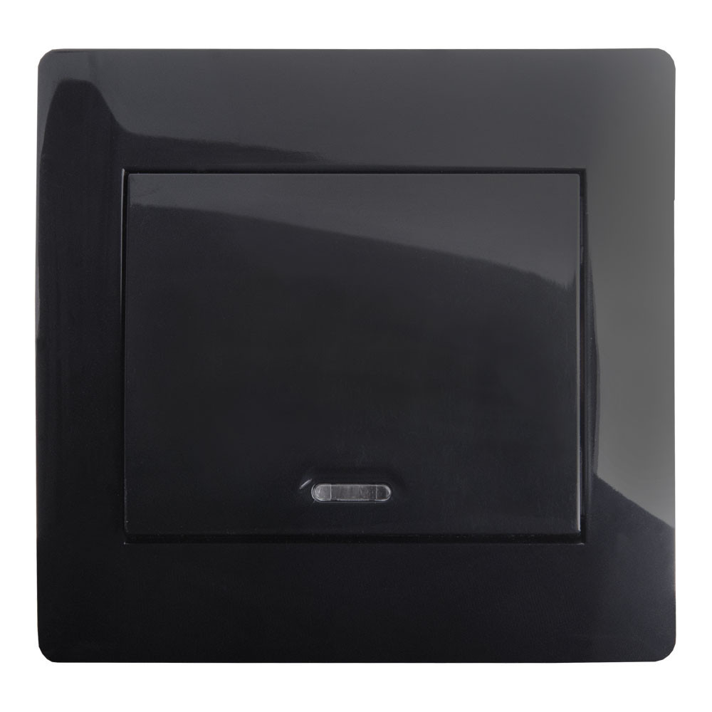 Выключатель с подсветкой (с рамкой) LXL Oscar черный глянец