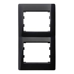 Рамка 2 місця вертикальна LXL Oscar чорний глянець