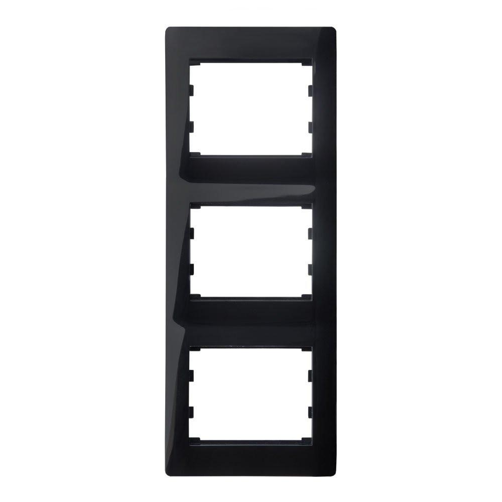 Вертикальна Рамка 3 місця LXL Oscar чорний глянець