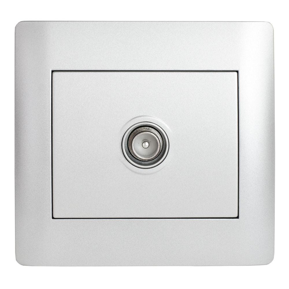 Розетка телевізійна кінцева (з рамкою) LXL Oscar срібний металік