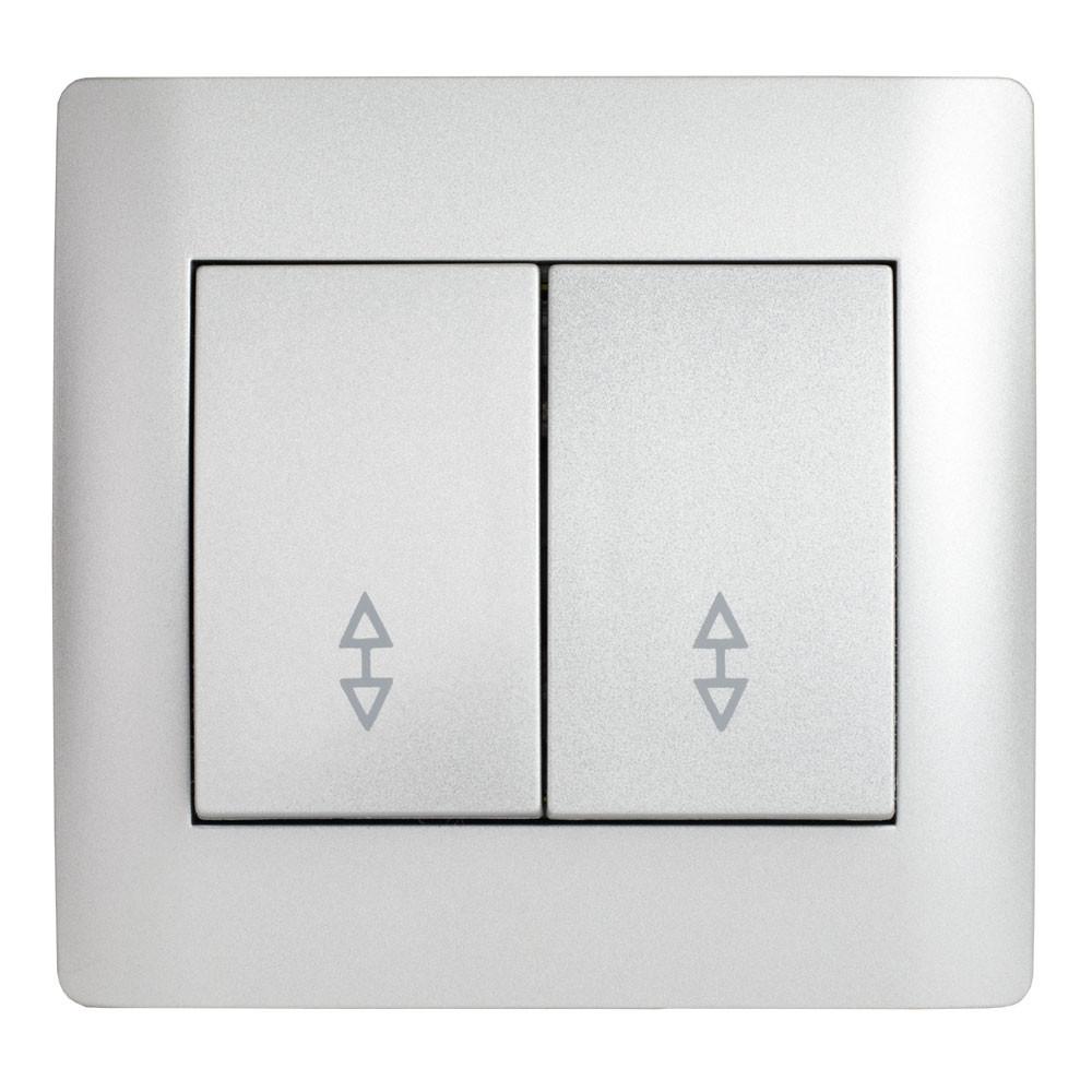 Выключатель проходной двойной (с рамкой) LXL Oscar серебряный металлик