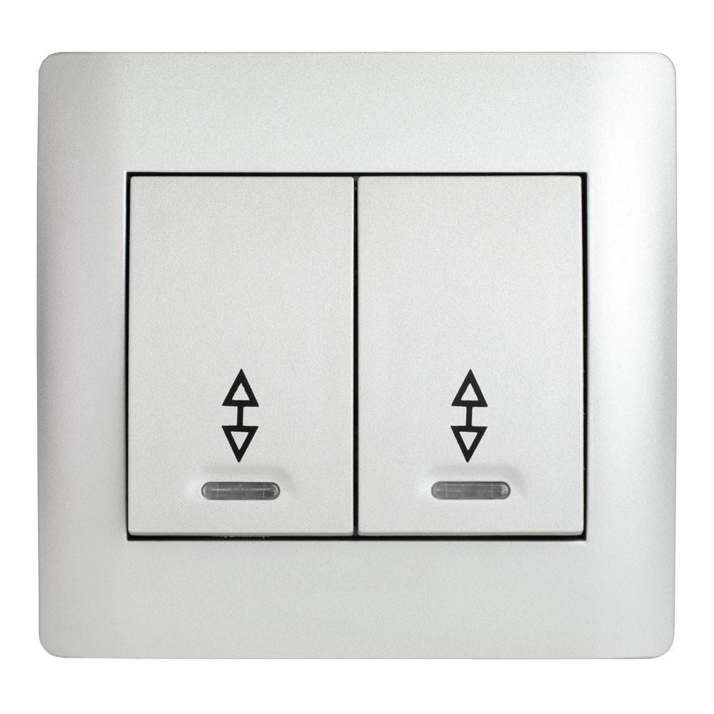 Выключатель проходной двойной с подсветкой (с рамкой) LXL Oscar серебряный металлик