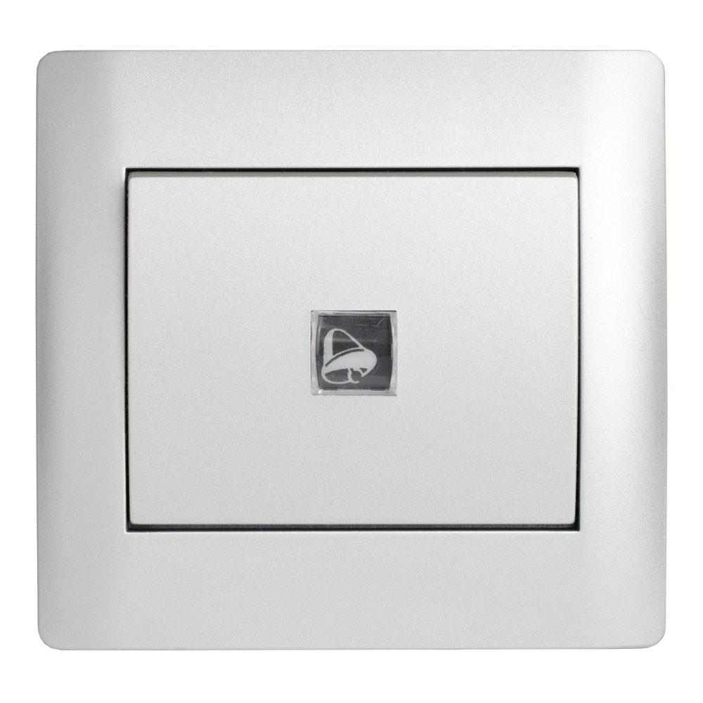 Кнопка дзвінка з підсвічуванням (з рамкою) LXL Oscar срібний металік